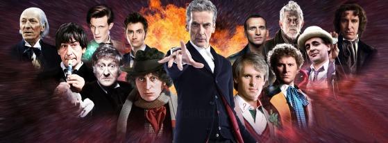 Ao centro, o atual Doutor, interpretado por Peter Capaldi.