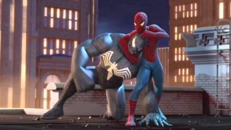 Homem-Aranha brincando com seu pet Venom