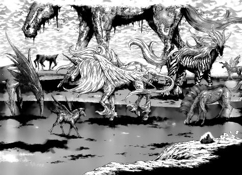 Shimabukuro mostrando que sabe desenhar monstros